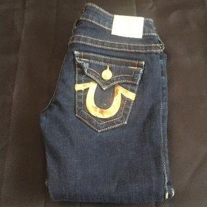 True Religion Joey Dark Wash Jeans Gold Accent